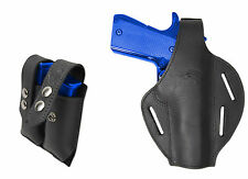 New Black Leather Pancake Holster + Dbl Mag Pouch Kimber Llama Full Size 9mm 40