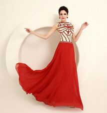 Red New Long Pageant Ball Bridal Prom Gown Evening Boat Neck Wedding Dress Party