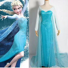 Hot Frozen Princess Costume Cosplay Adult Size S-XXL Tulle Elsa Fancy Gown Dress