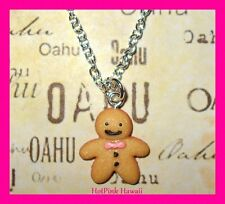Cookie Ginger bread Girl Pink Bow Silver Plated Earrings Necklace Set*USA MADE