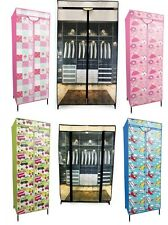 PRINTED CANVAS FABRIC CLOTHES SHOE ORGANISER STORAGE WARDROBE CABINET UNIT RACK