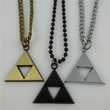 Stainless Steel Movies Dangle Triangle Triforce Pendant & Iron Chain Necklace