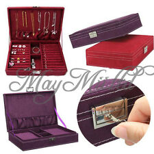 Lockable Velvet Jewelry Box Large Capacity Earring Necklace Storage Case New G