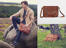 50% OFF Large Mens Leather Brown Tan Satchel Messenger Shoulder Bag