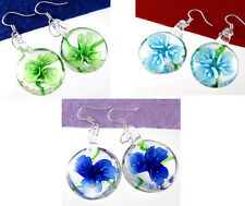 Silver plated hook circle blooming Flowers Murano Art Glass Lampwork Earring