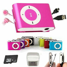 REPRODUCTOR MP3 PLAYER MINI CLIP ALUMINIO MICRO SD HASTA 32GB USB CASCOS ROSA