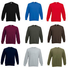 New Fruit Of The Loom Mens Jersey Ribbed Cuffed Sweatshirt Jumper Top Size S-XXL