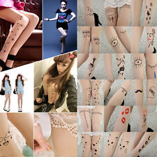 2016 Trendy Sexy Tattoo Pattern Temptation Sheer Pantyhose Tights Stockings ym