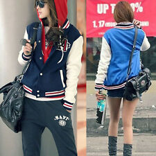 Womens Fashion Baseball Uniforms Stand Collar Loose Long-sleeved Jacket @#MD@-US