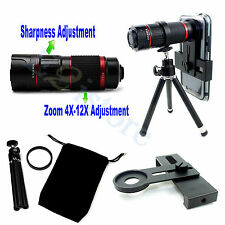 Manual Focus 4-12X Zoom Telephoto Mobile Phone Camera Lens Tripod Clip Holder