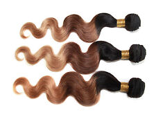 "Hot Style 3Bundles Ombre Brazilian Human Hair 12""-20""1b33#27# 3tones US Local Ho"
