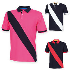 Front Row Mens Diagonal Stripe Short Sleeved Top Collared Polo Shirt Size S-XXL