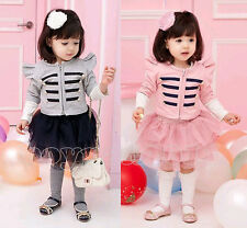Kids Toddlers Girls Clothing Round Coat Jacket Skirt Outfits/Sets Suit Ages 2-7Y