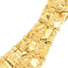 Men's 12 1/2 mm Thick 14k Yellow Gold Layered Filled Plated Nugget Link Bracelet