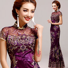 Purple Cheongsam Evening Prom Wedding Mermaid Dress Ball Gown Embroidery Sequins