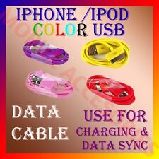 "COLORFUL USB CABLE for IPHONE™®IPOD 3G/3GS/4G/4S ""For Charging & Data Sync"" NEW"