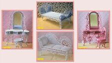 dolls house miniature 1:12 scale girls bedroom wire furniture 4 to choose from.