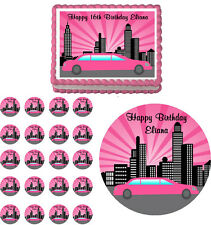 PINK LIMO LIMOUSINE Edible Birthday Party Cake Topper Cupcake Image Decoration