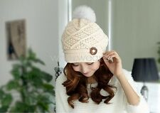 Winter Warm Womens Ladies One Button Fur Knitted Beanie Sweet Cap Hat GAU