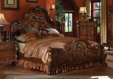 Traditional Antique Carved Wood Queen Eastern California King Bed Claw Foot Oak