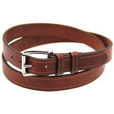 """Orion Leather 1 1/4"""" Rich Brown Bridle Leather Belt With Saddle Groove"""