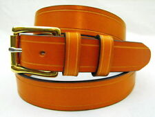 """Orion Leather 1 1/4"""" Bridle London Tan Leather Belt Saddle Groove Nickel-Free"""
