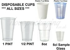 PLASTIC DISPOSABLE CUPS CLEAR WHITE 50ml 7oz 8oz 1 PINT HALF PINT ** ALL SIZE **