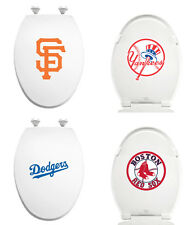 FC372 MLB LOGO TEAM THEME WHITE ELONGATED MOLDED WOOD OVAL TOILET SEAT COVER LID