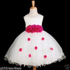 Ivory/Fuchsia Hot Pink Wedding Party Flower Girl Dress 6M 12M 18M 2 4T 6 8 10