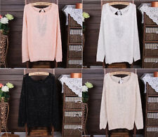 Womens Vintage Backless Bowknot Loose Knit Cardigan Sweater Jumper Pullover Tops