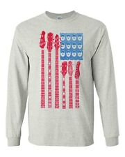 American Flag as Guitar Neck and Amplifier Long Sleeve T-Shirt