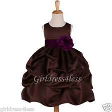 BROWN/PLUM PURPLE PICK UP PAGEANT FLOWER GIRL DRESS 6M 12M 18M 2 4 5/6 7/8 10 12