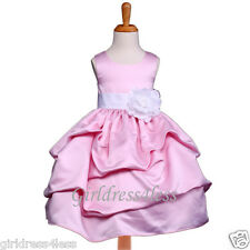NEW PINK/WHITE PICK UP WEDDING FLOWER GIRL DRESS 6M 12M 18M 2 3/4 5 6 7 8 10 12