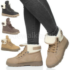 WOMENS LADIES FUR LINED CUFF FLAT LACE UP WINTER ANKLE TRAINERS SHOES BOOTS SIZE