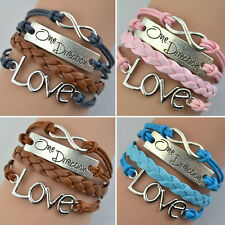 1PC One Direction Infinity Love Hand-knitted Leather Charm Chain Bracelet Hoc