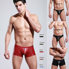 New arrival!Sexy Faux Leather Mens Underwear Boxer Briefs Briefs T-Back G-String