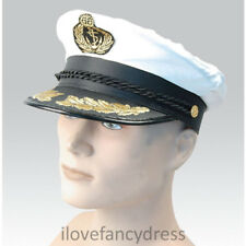 SATIN CAPTAIN HAT NAVAL OFFICER PEAKED CAP SAILOR FANCY DRESS COSTUME ACCESSORY