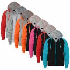 UNISEX SWEAT JACKET CONTRAST SLEEVE FLEECE MENS LADIES HOODIE JUMPER SIZES S-XXL