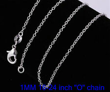 """XMAS hot sale 1PCS  sterling solid silver 1MM """" O """" 16-24inch chain necklace"""