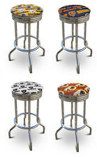 "FC20 29"" TALL SPORTS THEMED CHROME FINISH METAL BAR STOOLS SWIVEL SEAT CUSHION"