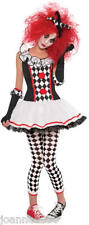 LADIES SEXY HARLEQUIN HONEY JESTER CLOWN FANCY DRESS COSTUME OUTFIT HAT & TIGHTS