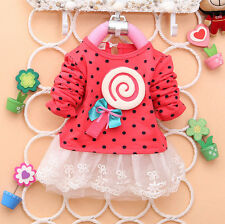 1PC Baby Kids Girl sweater greatly lollipop Dot Girls T-shirt lace Dresses