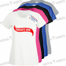 21st Birthday Banner,Twenty one Mens T-Shirts Womens Fit Top Best Gifts,Presents