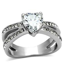 Women's Stainless Steel Heart cz Love Wedding Engagement Promise Silver Ring