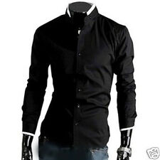 Korean Style Men's Comfy Stand Collar Hit Color Long Sleeve Dress Shirts US HG