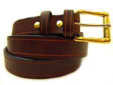 """Men's 1 1/4"""" Sunset Brown Harness Leather Belt Saddle Groove Nickel-Free"""
