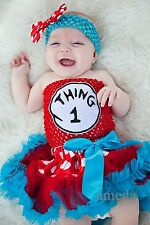 Baby Red Polka Dots Blue Pettiskirt Thing 1 2 3 Tube Top Party Dress Costume