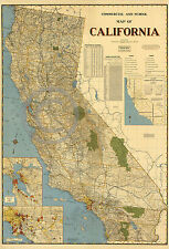 1947 Mid-Century Modern Historical Wall Map of California