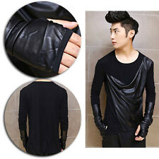 Mens Draped PU Leather Gloves Asymmetrical Splice Long Sleeve T-shirt Casual Tee