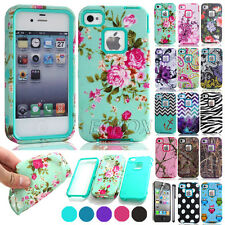 Shockproof High Impact Rugged Rubber Hard PC Combo Matte Case For iPhone 4 4S